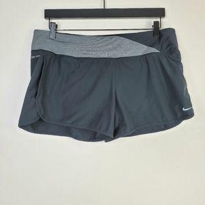Nike Dri Fit Black & Gray Athletic Running Shorts
